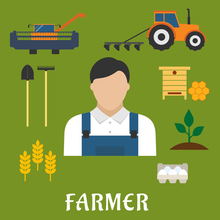 combining: Farmer profession and agriculture flat icons of shovel, rake, combine, tractor with plough, beehive with honeycomb, eggs, ripe wheat ears, green plant and man in overalls Illustration