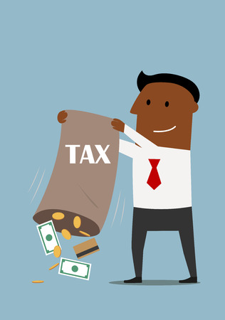 financial burden: Cartoon smiling african american businessman collecting taxes, pouring out from a bag credit card, dollar bills and coins