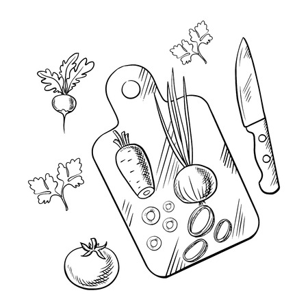 cutting board: Fresh farm tomato, carrot, green onion and radish vegetables on cutting board with knife and parsley stems. Cooking process sketch image for vegetarian menu or recipe book design