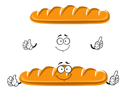 crust: Fresh baked long loaf of wheat bread cartoon character with golden crust and cheerful smile. For bakery shop or healthy food design Illustration