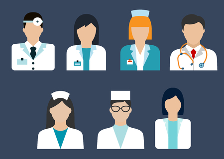 cirujano: Iconos planos de profesiones médicas con el doctor, terapeuta, cirujano, dentista, farmacéutico y de enfermería avatares Vectores