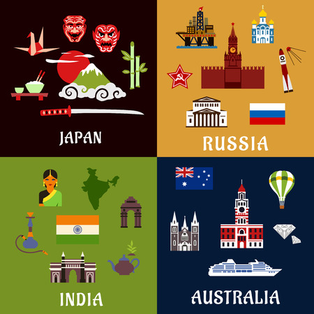 industry architecture: Japan, Russia, India and Australia travel flat icons with architecture landmarks, culture, industry, religion and national symbols