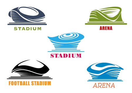 american football stadium: Modern sport stadiums and arenas icons with abstract silhouettes isolated on white