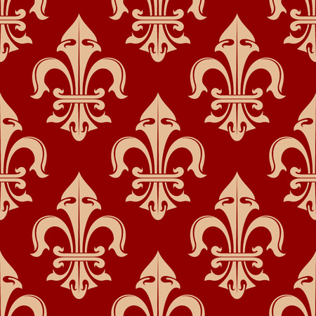 monarchy: Seamless royal french fleur-de-lis floral pattern with beige lily flowers on red background, for heraldry theme or wallpaper design