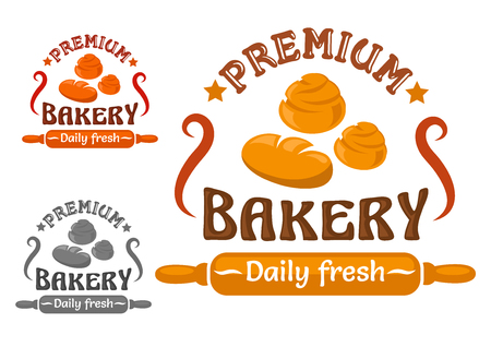 buns: Bakery or pastry shop sign with round loaves of wheat bread and sweet buns, decorated by stars and rolling pin with text Daily Fresh Illustration