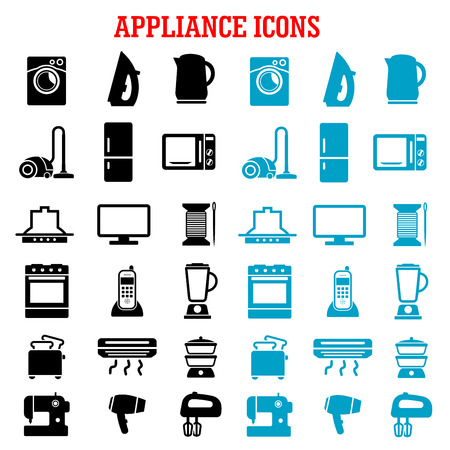 iron fan: Home appliance icons with microwave, vacuum, iron, refrigerator, toaster, tv set, washing and sewing machines, blender, mixer, fan, stove, kettle, air conditioner, telephone, steamer and cooker hood