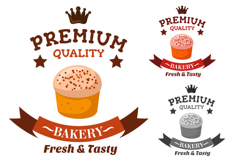 adorned: Premium quality bakery and pastry shop emblem with sweet butter cupcake with royal icing and colorful sprinkles, adorned by chocolate headers with crown, stars and ribbon banner