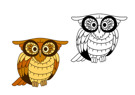 plumage: Cartoon owl bird with yellow and brown plumage and big eyes, for education or wildlife design Illustration