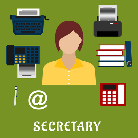 personal service: Secretary or assistant profession flat icons with telephone, fax, stack of folders with documents, pen, printer, mail symbol, typewriter and elegant young woman