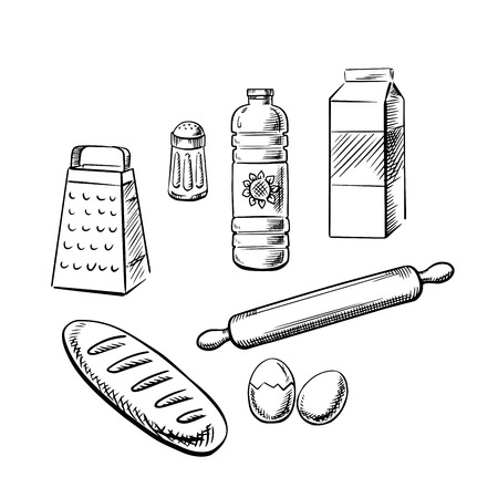 baking: Bakery ingredients and kitchen utensil with milk pack, bottle of sunflower oil, eggs, salt, grater, rolling pin and long loaf of bread. Sketch icons for recipe book or baking theme design