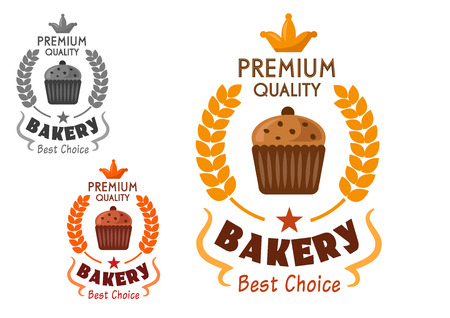 raisin: Bakery and pastry emblem design of chocolate cupcake with raisins, framed by golden wheat wreath, stars, text Premium Quality and Best Choice