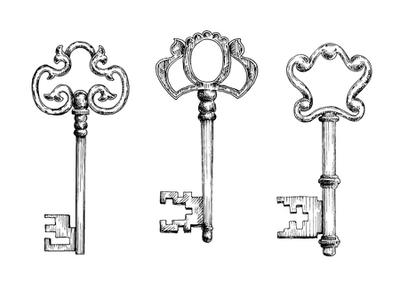 passkey: Old antique door keys with decorative bows. Sketch icons, for secret or security theme