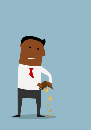 penniless: African american businessman pouring out his last few coins from wallet, for financial failure or bankruptcy concept design