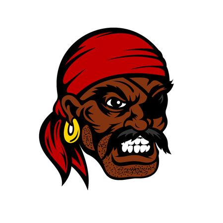 red eye: Growling cartoon african american pirate face with eye patch, red bandana and gold earring, for nautical or marine adventure themes design