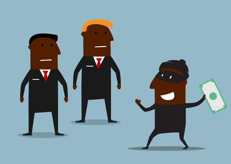 cartoon gangster: African american bank security guards caught the thief in mask with stolen money, for finance safety or protection themes design. Cartoon style