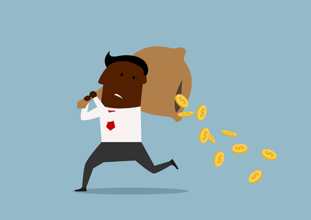 thoughtless: Cartoon african american businessman running with money bag on his shoulders and losing golden coins that poured out from a hole in the bag