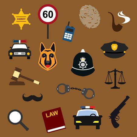 peaked: Police, law and justice flat icons with handcuff, car, lawbook, sheriff star badge, officer peaked caps, fingerprint, speed limit sign, judge gavel, radio receiver, scales, magnifier, smoking pipe, moustache