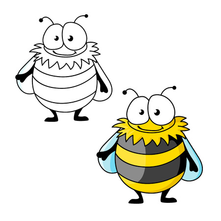 Funny plump bumblebee cartoon character with yellow and black furry strips. Isolated on white, with outline version Illustration