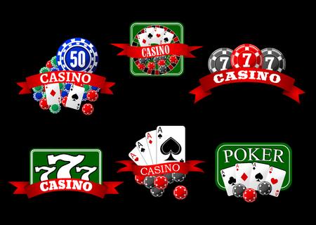 roulette table: Casino icons with poker hands of aces cards, gambling chips, jackpot lucky triple seven and roulette table, decorated by red ribbon banners Illustration