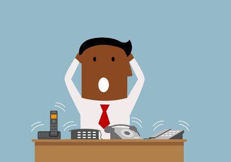 telefono caricatura: Exceso de trabajo hombre de negocios estadounidense de dibujos animados tiene un montón de llamadas telefónicas, para el estrés en el diseño del trabajo o síndrome de burnout Vectores