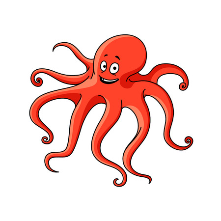 フレンドリーな赤い海タコ漫画文字長い波状触手と幸せそうな顔。海洋冒険や水中生物のテーマ デザイン