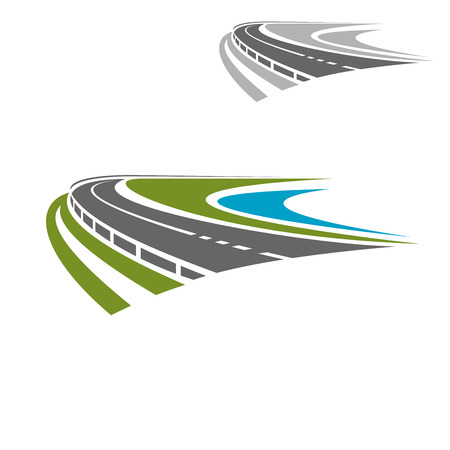 coastlines: Steep turn road or highway icon with scenic green coastline and blue water. Travel or vacation themes design Illustration