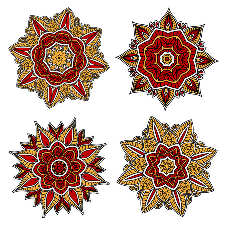 adorned: Red and yellow circular floral patterns with abstract red and yellow flowers, adorned by openwork ornaments May be use in tile or textile design