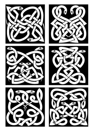 reptiles: Celtic snakes knot patterns with intertwined reptiles and tribal ornament. Medieval embellishment or tattoo design elements Illustration