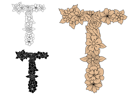 colorless: Floral alphabet letter T in uppercase font with decorative flowers in brown, colorless and black color variations