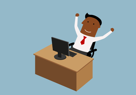 achievement: Happy cartoon african american businessman looking at computer and raising arms, for goal achievement or victory concept design