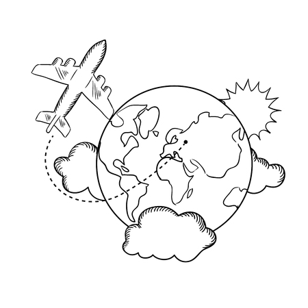 air travel: Air travel with flying airplane and earth globe with clouds and sun. Travel concept, sketch style