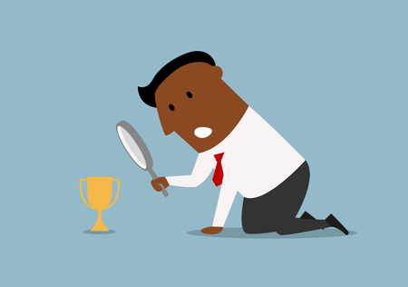 african americans: Confused cartoon african american businessman looking at small trophy cup through magnifying glass