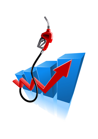 petroleum blue: Rising fuel prices graph with gasoline pump nozzle. Gas and oil industry or finance concept