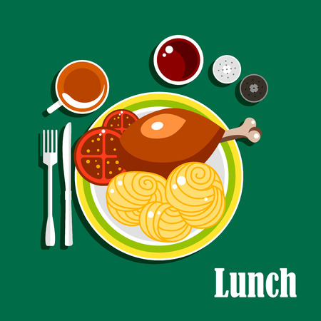 grilled vegetables: Lunch dishes served on the table with chicken leg, egg noodles nests and tomato slices on plate. Also cup of tea, ketchup, salt and pepper shakers, fork and knife Illustration