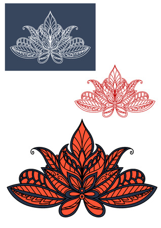 adorned: Red lace indian flower adorned by traditional paisley pattern with blue and black flourishes. For oriental interior or textile design