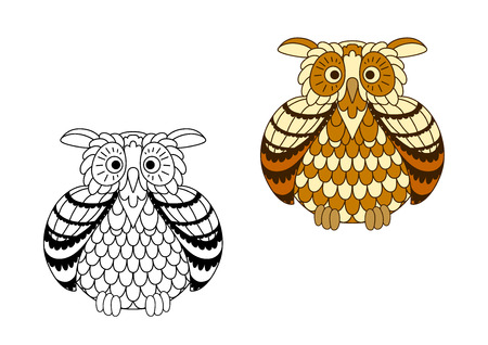 night owl: Brown and yellow cartoon owlet with striped wings in colorless and cartoon style. Isolated on white Illustration
