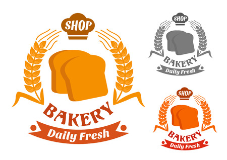 crispy: Bakery shop symbol with golden crispy slices of toast bread, framed by wheat ears with baker hat and ribbon banners. In orange, red and gray color variations