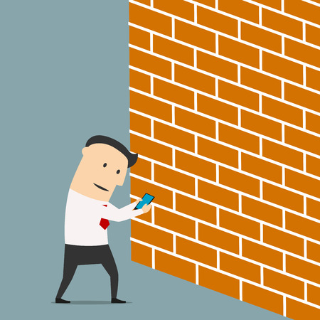 Cartoon businessman looking at screen of smartphone and walking straight into the wall, for internet addiction concept design Illustration
