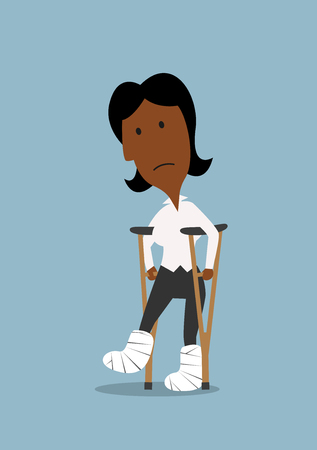 accident patient: Cartoon injured african american businesswoman with bandaged legs walking on crutches. Health insurance or work accident concept theme design