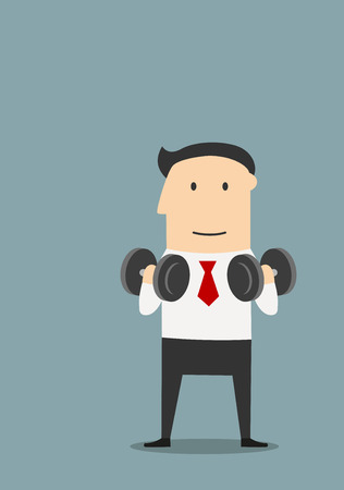 sport cartoon: Smiling cartoon businessman doing exercises with dumbbells. Healthy lifestyle or success concept design