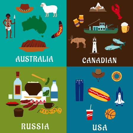 american history: Russia, Canada, USA and Australia travel flat icons with traditional culture, history, industry, landmark, nature and national cuisine elements Illustration