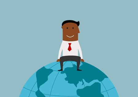 world economy: Cartoon happy smiling successful african american businessman sitting on the earth globe, for international business or global market concept design Illustration