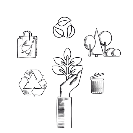 recycling symbols: Environment protection concept with plant in hand, recycling symbols with arrows and leaves, eco shopping bag, forest landscape with trees and trash can. Sketch icons Illustration