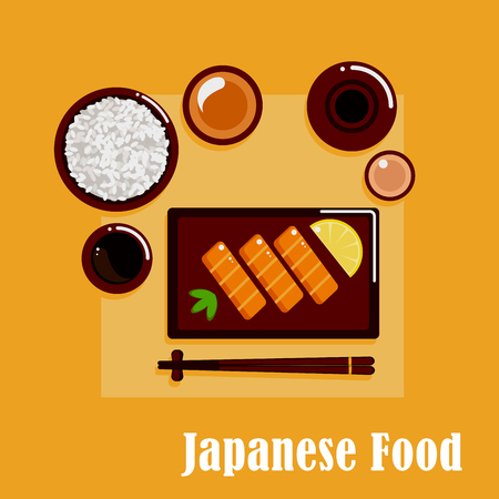 bowls: Japanese cuisine dinner menu icons with salmon sashimi, served by lemon and wasabi pasta, wide bowl with rice, dipping sauces, ceramic sake set and chopsticks on a rest Illustration