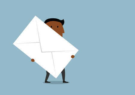 emails: Cartoon african american businessman carrying a large letter envelope. Business correspondence and delivery concept design