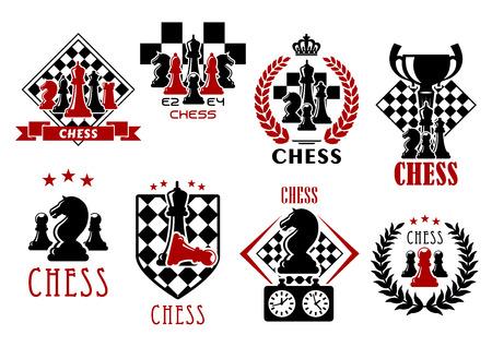 chess: Juego de ajedrez símbolos heráldicos de tableros de ajedrez con piezas de reyes, reinas, obispos, caballeros, torre y peones, reloj, taza del trofeo, escudo heráldico, guirnaldas, banderas de la cinta y corona