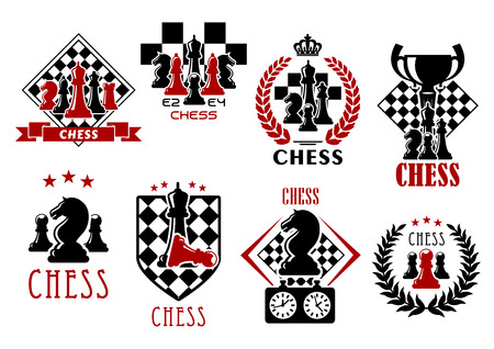 Chess game heraldic symbols of chessboards with pieces of kings, queens, bishops, knights, rook and pawns, clock, trophy cup, heraldic shield, wreaths, ribbon banners and crowns
