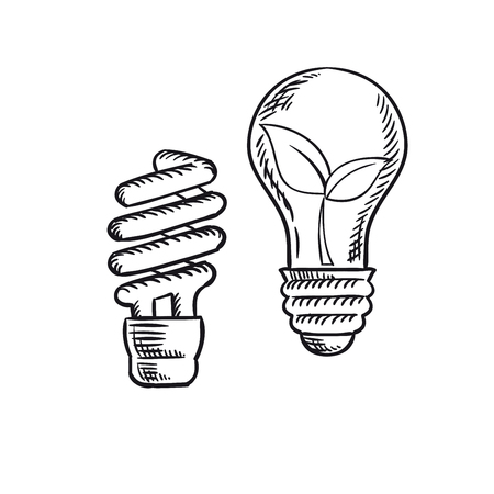 incandescent: Sketch of fluorescent energy saving light bulb and old incandescent lamp with plant inside. Save energy concept