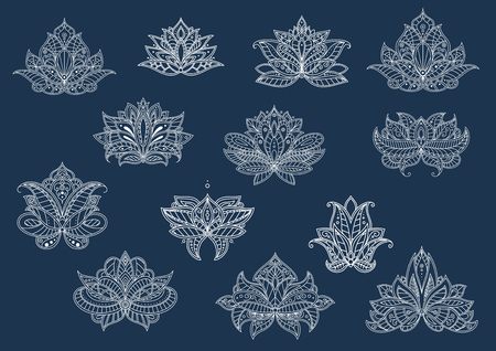 Decorative isolated paisley flowers with oriental openwork ornament, dainty curlicues and floral elements in indian, persian and turkish style. May be use in interior design Illustration