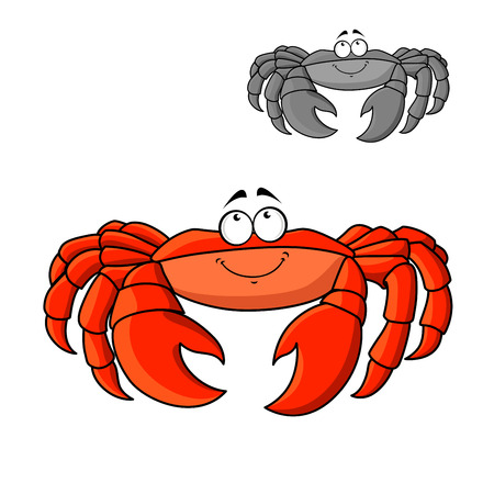 hardshell: Atlantic ocean red crab cartoon character with big legs and claws. Underwater wildlife or seafood menu themes